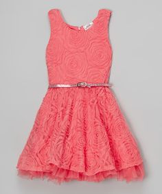 Look at this Sugar Coral Floral Belted Dress on #zulily today!