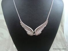 CELESTE Antique Silver Angel Wing Necklace.