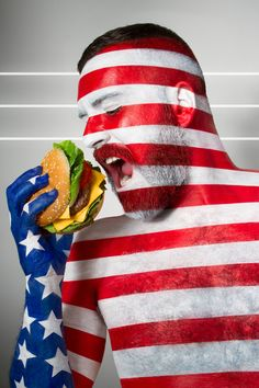 Models Painted As Flags Eating Stereotypical Food From That Country in Jonathan Icher's 'Fat Flag' Photo Series Human Flag, Recipe Icon, International Flags, Photography Series, Concept Photography, Photography Projects, Creative Photography, Portrait Photography, Food Photography