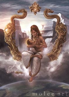 """The word """"Aditi"""" means """"unbound"""" or in other words """"liberty"""". She is the mother of the Adityas and goddess of cosmic reality and time. Aditi was the mos. Indra and Aditi Indian Goddess, Goddess Art, Durga Goddess, Ancient Goddesses, Gods And Goddesses, Hindus, Indian Illustration, Religion, Hindu Deities"""