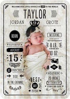 Send your friends and family all the details about your newest member of the family with this perfectly crafted baby birth announcement card. Newborn Pictures, Baby Pictures, Birth Announcement Photos, Birth Announcements, Announcement Cards, Baby Arrival Announcement, Photo Bb, Foto Baby, Boy Photos