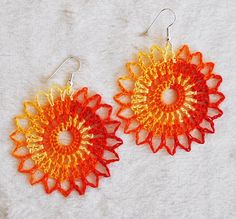 Orange crocheted earrings Handmade in Iceland and ready to ship on Etsy, $9.98