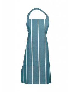 Mooi blauw schort van katoen met streep. - KitchenHugs