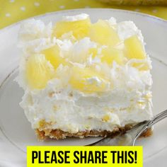 A cool, creamy no-bake vintage dessert that's easy to make and perfect for summer! Servings: 12 Calories: 275 kcal Ingredients: 1 package cream cheese (softened) 1 cup powdered sugar 1 cup crushed pineapple (drained) 1 tub whipped topping, like Cool Pineapple Dream Cake, Pineapple Dream Dessert Recipe, Baked Pineapple, Pineapple Desserts, Crushed Pineapple, Pineapple Fluff, Pineapple Delight, Pineapple Lemonade, Pineapple Recipes
