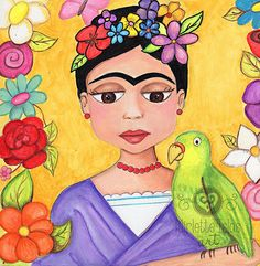 Frida Kahlo with parrot  PRINT 8 x 10  from by MirletteIslasArt, $10.25