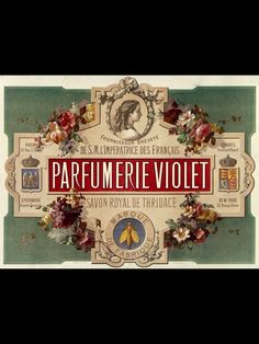 ANTIQUE PERFUME LABEL SUPPLIER TO HER MAJESTY THE EMPRESS OF FRANCE FRANCE 19th c. (Victorian Rococo revival)