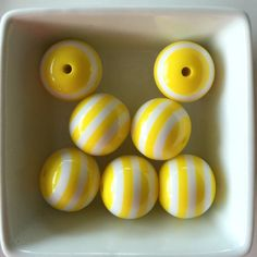 6 Count 20mm YELLOW Striped Bubblegum Bead-Chunky Bubblegum Bead Necklace-Bead-Necklace-20mm Beads-Acrylic-Resin-Gumball Beads-Bead Supplies by BBBSupply on Etsy