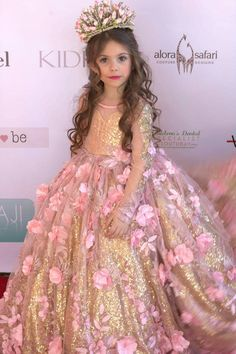 Flower girl dress, photo shoot dress, first communion dress, elegant event dress. DESCRIPTION: Dazzle the crowds at your special event with a handmade origional design by Alora Safari. This elegant couture gown features thousands of gold sequins, elegant embroidery, decadent details, and