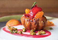 Dessert Professional | The Magazine Online - Stone Fruit Pistachio Brioche, Toffee Nuts, Blood Peach Fluid Gel