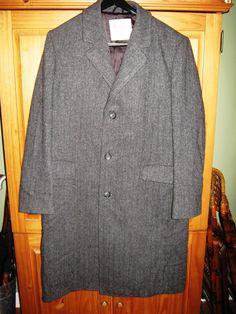 LONDON FOG vintage men's overcoat - grey herringbone