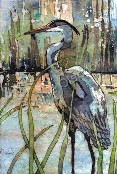 Batik - Heron In The Reeds - Water Color And Wax by Bonnie Olendorf