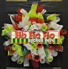 Ho Ho Ho Deco Mesh Wreath  Christmas Wreath  Holiday by WelcomeHomeWreath