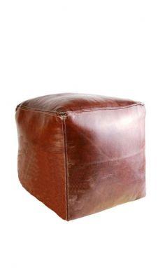 Square leather Moroccan pouffe