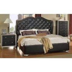 Glam Black Crystal Tufted Leather Bed -