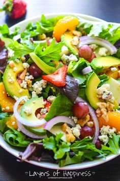 Summer Fruit Chopped Salad. One of my favorite salads! Super healthy and absolutely delicious!