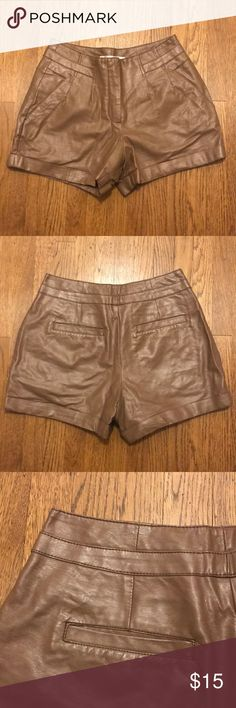 Brown faux leather shorts Brand: Lauren Conrad  Size: 6 High waist style   Shell: polyurethane  Base fabric: 100% rayon Lining: 100% polyester  Made in China LC Lauren Conrad Shorts