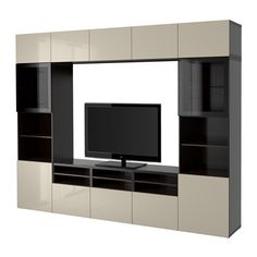 IKEA BESTÅ TV storage combination/glass doors Black-brown/selsviken high-gloss/beige clear glass cm The drawer and doors have integrated. Ikea Tv, Tv Storage Unit, Storage Spaces, Ikea Storage, Tv Cabinet Ikea, Wall Entertainment Center, Tv Wand, Muebles Living, Living Furniture