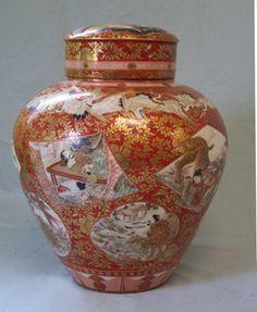 Fine Japanese Kutani Porcelain Dry Tea Storage Jar C 1880 with Lid Meiji Cranes | eBay