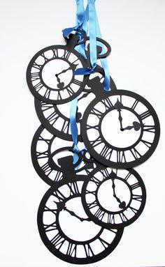 Alice In Wonderland -Jumbo Pocket Watch Clock Set of 10- Black/White- I'm Late I'm Late. $48.00, via Etsy.