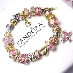 Authentic Pandora Sterling Silver Bracelet w/ Charms Love Heart Butterfly Beads #PandoraBracelet #European