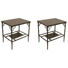 Side tables but could be used at base of 2 pillars to hold tall lamps. Ebonized Bamboo Form End Tables, $2,450 (at Flessas)