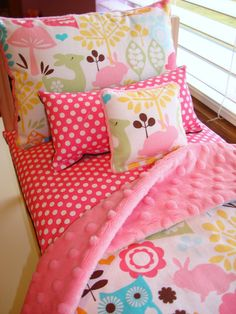 5-Piece Pink Owl Forest Life Doll Bed Bedding Set Fits American Girl