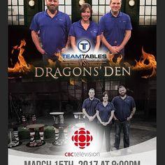 Big News.. Dragons Den vs TeamTables.com   Watch on CBC on Wed March 15 at 8pm EST.   #dragonsden #custommade #sportsgift #giftforhim #giftforkids #coolesttable #bestnewproduct #mancave #proudlycanadian