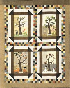 """Four Seasons Quilt Block of the Month - """"The Quilted Crow Quilt Shop, folk art quilt fabric, quilt patterns, quilt kits, quilt blocks"""