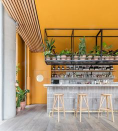 Intended to accommodate both formal & casual encounters, Treves & Hyde is a new restaurant and bar in East London designed by Grzywinski+Pons.