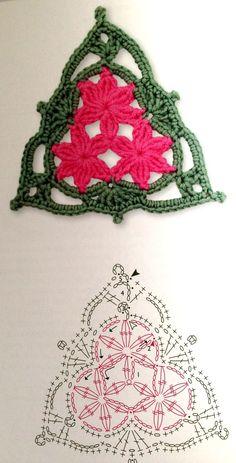 crochet triangular motif diagrams | triangle crochet flower pattern