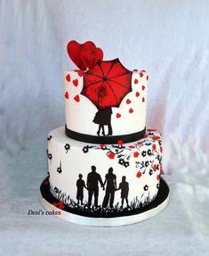 Love by Desislava Anniversary Cake Designs, Happy Anniversary Cakes, Wedding Anniversary Cakes, 20th Anniversary, Cake Decorating With Fondant, Cake Decorating Supplies, Elegant Birthday Cakes, Birthday Cake Girls, Beautiful Cakes
