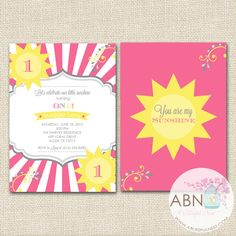 You Are My Sunshine Birthday Invitation - Girls Sunshine Party Invitation - DIY PRINTABLE - By A Blissful Nest by ABlissfulNestShop on Etsy https://www.etsy.com/listing/166502490/you-are-my-sunshine-birthday-invitation