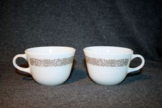 2 Vintage Pyrex Woodland Brown Floral White Milk Glass Mugs Coffee Cups #PYREX