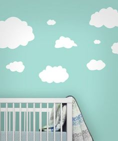 Take a look at this Cloud Wall Decal Set by looksugar* on today!~ Always loved the look of clouds in a room. Loved how it looked like the sky with clouds~ Baby Boy Nursery Themes, Baby Boy Room Decor, Baby Room Design, Baby Boy Rooms, Nursery Design, Kids Rooms, Small Shared Bedroom, Baby Room Lighting, Wall Decals