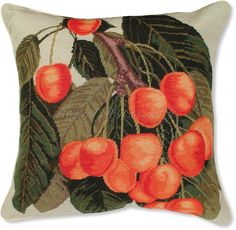 Fruit Needlepoint Pillows. Cherries I Needlepoint and Petit Point Pillow - Floral Needlepoint Pillows at NeedlepointPillows.com