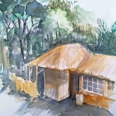 Saung #curugbatutemplek #cimenyan #livesketching #sketching #watercolor #bandungjuara Sketching, Watercolor, Travel, Painting, Instagram, Art, Art Background, Watercolour, Viajes