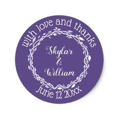 Ultra violet wedding purple save the date label elegant gifts ultra violet wedding simple love and thanks classic round sticker negle