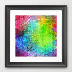 Grungy Hex Framed Art Print
