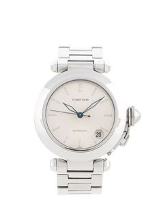 Vintage Cartier Pasha watch, $3200. Stainless steel bracelet watch with an ivory dial, 19mm strap, 38mm case. Covet.