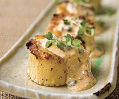This is perfect for an intimate little Late-Nite Supper for someone special!  ~  Grilled Scallops with Remoulade Sauce ~ This is a take on the more-familiar Shrimp Rémoulade. However, in this case we want the bold grilled flavor to come through, so we use the Rémoulade sauce as a dipping sauce, much like you would a cocktail sauce.