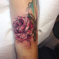 """82 Likes, 1 Comments - Myriam Bolduc (@mybolductattooer) on Instagram: """"#rose#watercolor#geometric#color#quebec#tattoo"""""""