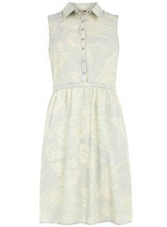 Light wash denim floral shirt dress