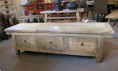 rustic reclaimed wood storage bench ... I'd love this to refinish with my own coloring and design