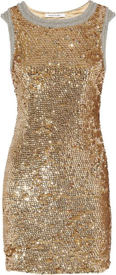 RACHEL GILBERT  Willamina Sequined Silk Dress: Twinkle, golden and glam up your life!
