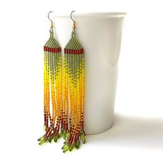 Colorful long  seed bead earrings   beadwork by Anabel27shop