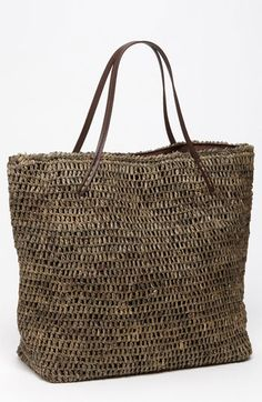 Michael Stars 'Madagascar' Raffia Tote available at Nordstrom Crochet Tote, Crochet Handbags, Straw Handbags, Tote Handbags, Tote Bags, Tote Purse, White Tote Bag, Mein Style, Straw Tote