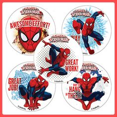 Spider-Man Stickers x 5 -Motivational Stickers Teachers Awards/Favours-Spiderman