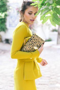 Jessie Chanes Seams for a desire - Mustard Wedding Midi Dress Leopard Clutch Zacposen Apparentia Marbella Club -17