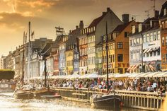How to Research Danish Ancestry: Nyhavn Canal at sunset, Copenhagen, Denmark