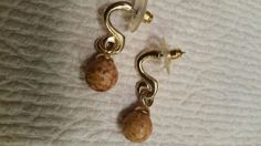 Vintage dangle earrings wood gold tone #DropDangle Pierced Earrings, Dangle Earrings, Retro Costume, Gold Wood, Pocket Watch, Dangles, Ebay, Accessories, Vintage